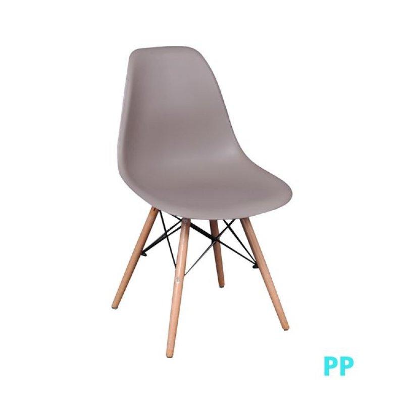 """Καρέκλα """"ART Wood"""" ξύλινη-pp σε χρώμα sand-beige 46x53x81"""