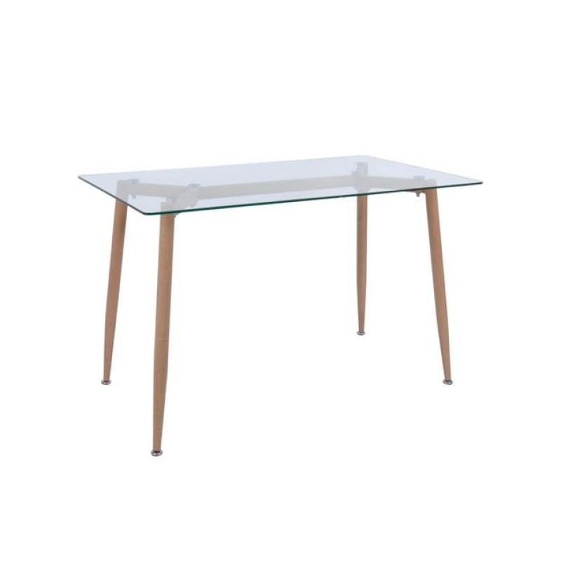 """Τραπέζι """"OLSEN"""" μεταλλικό με γυαλίνη επιφάνεια 120x70x75"""