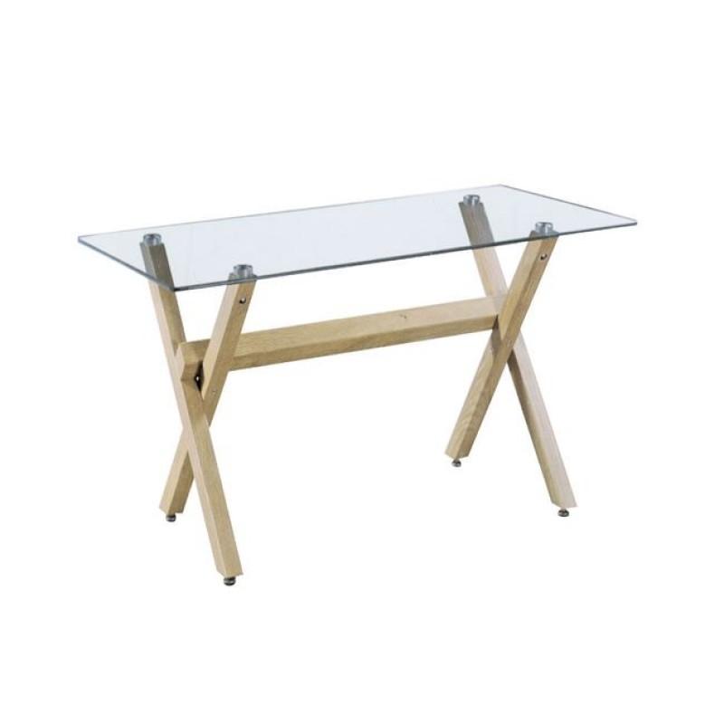 """Τραπέζι """"VOLTER"""" μεταλλικό με γυάλινη επιφάνεια 140x80x75"""