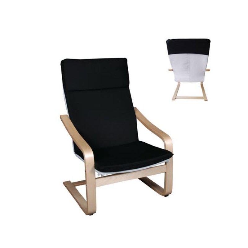 """Πολυθρόνα """"HAMILTON PLUS"""" από μασιφ σημύδα και ύφασμα σε μαύρο χρώμα 67x77x99"""