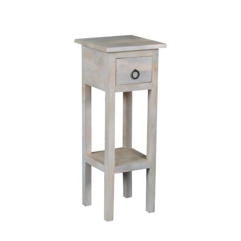 """Τραπέζι βοηθητικό σταντ """"MAISON CLASSIC"""" σε αντικέ λευκό 25x25x65"""