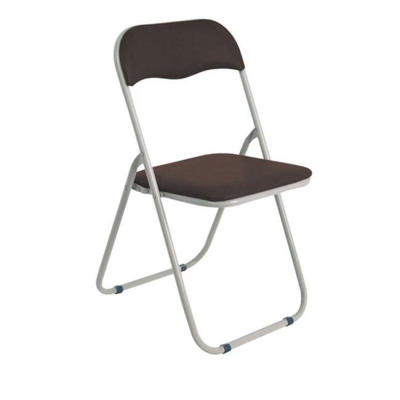 """Καρέκλα """"LINDA"""" μεταλλική-τεχνόδερμα σε καφέ χρώμα 44x45x79"""