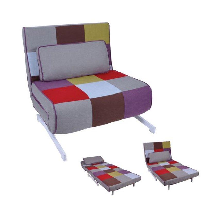 """Πολυθρόνα-κρεβάτι """"FALCO""""  από ύφασμα patchwork 90x89x88"""