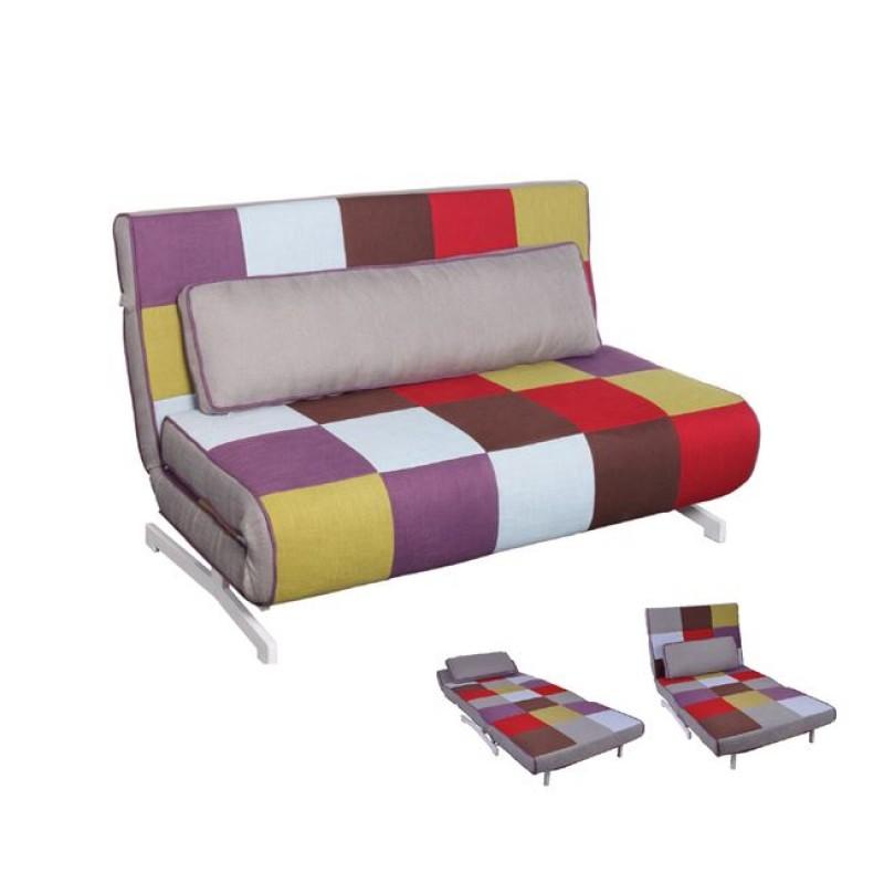 """Καναπές-κρεβάτι """"FALCO"""" διθέσιος από ύφασμα patchwork 140x89x88"""