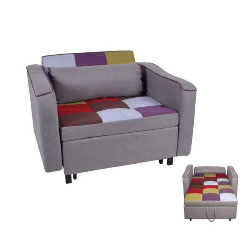 """Πολυθρόνα-κρεβάτι """"KENT"""" από ύφασμα patchwork 112x86x82"""