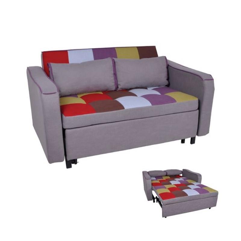 """Καναπές-κρεβάτι """"KENT"""" διθέσιος από ύφασμα σε χρώμα patchwork 147x86x82"""