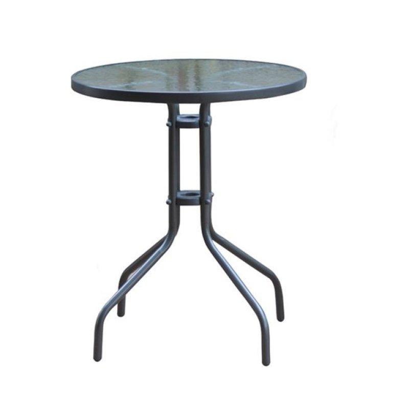 """Τραπέζι """"BALENO"""" μεταλλικό σε χρώμα γκρι με γυάλινη επιφάνεια 60x70"""