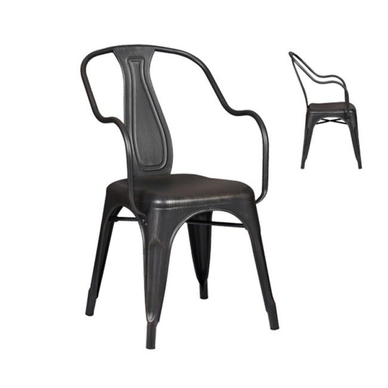 """Πολυθρόνα """"RELIX"""" μεταλλική σε αντικέ μαύρο χρώμα 49x56x86"""