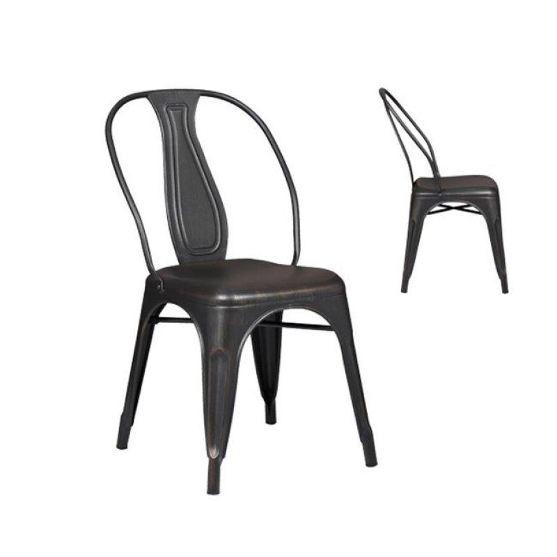 """Καρέκλα """"RELIX"""" μεταλλική σε αντικέ μαύρο χρώμα 47x54x85"""