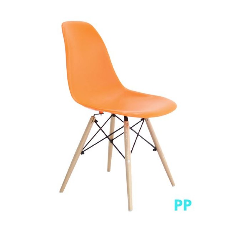 """Καρέκλα """"ART Wood"""" ξύλινη-pp χρώματος πορτοκαλί 46x53x81"""
