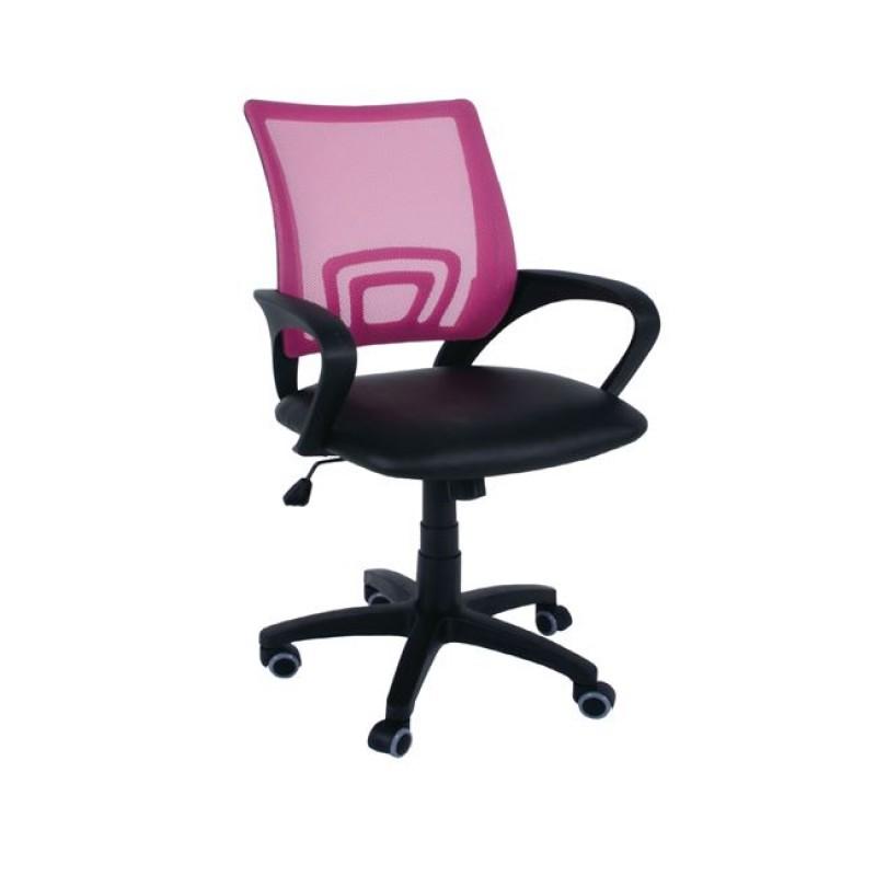 Πολυθρόνα εργασίας από ύφασμα mesh και τεχνόδερμα σε ροζ-μαύρο χρώμα 54x56x91/101