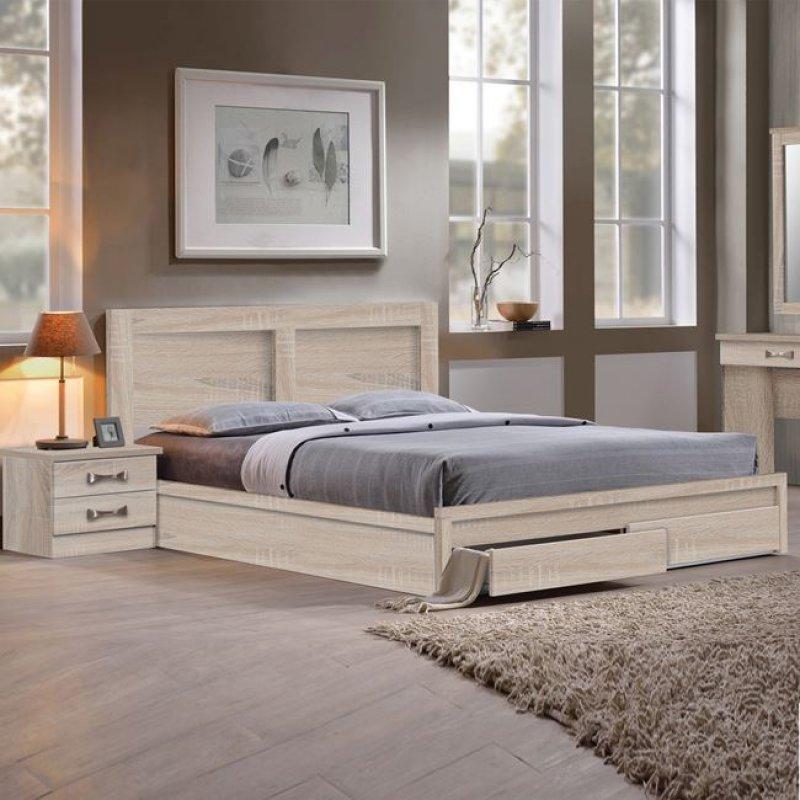 """Κρεβάτι-συρτάρια """"LIFE"""" διπλό σε χρώμα σονόμα 158x207x93"""