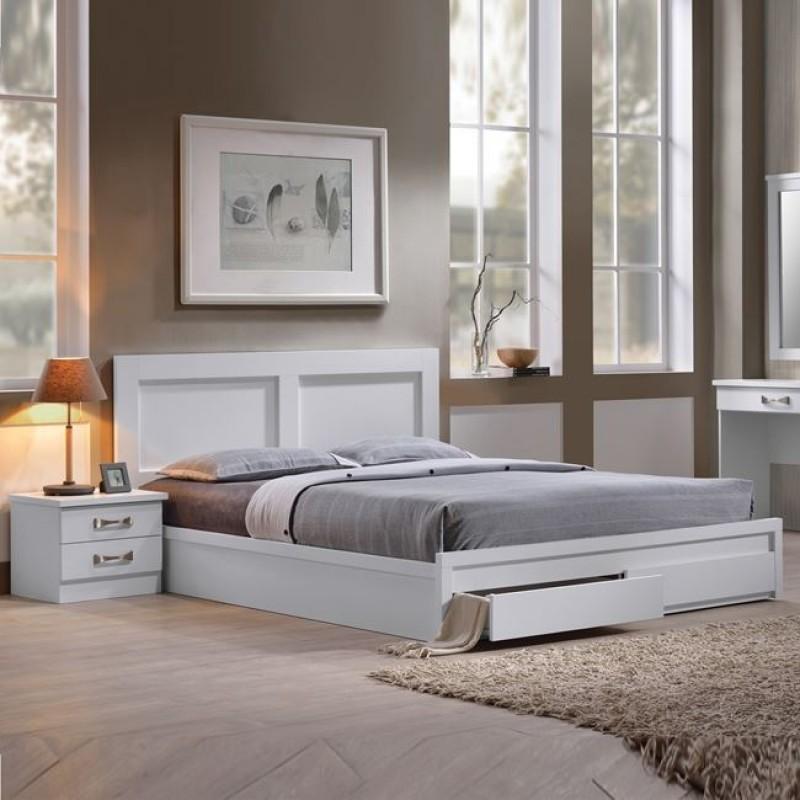 """Κρεβάτι-συρτάρια """"LIFE"""" διπλό σε χρώμα λευκό 158x207x93"""