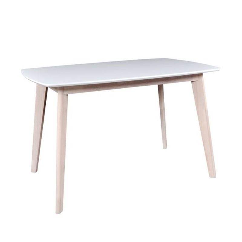 """Τραπέζι """"CALVIN"""" με σκελετό white wash και επιφάνεια σε χρώμα λευκό 120x80x75"""