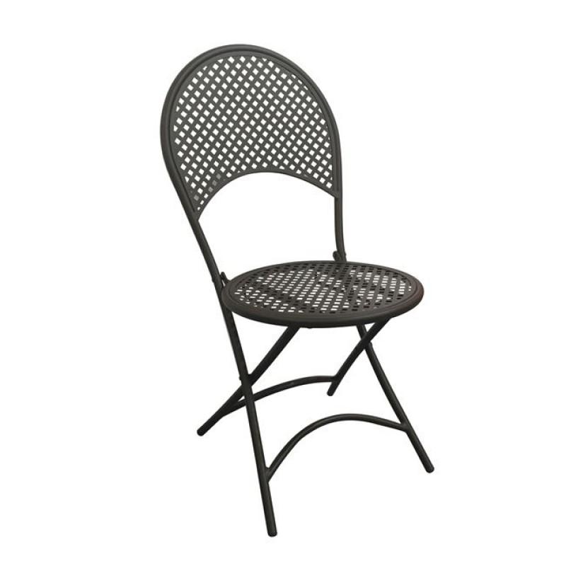 """Καρέκλα """"RONDO"""" μεταλλική πτυσσόμενη σε μαύρο χρώμα 42x54x85"""