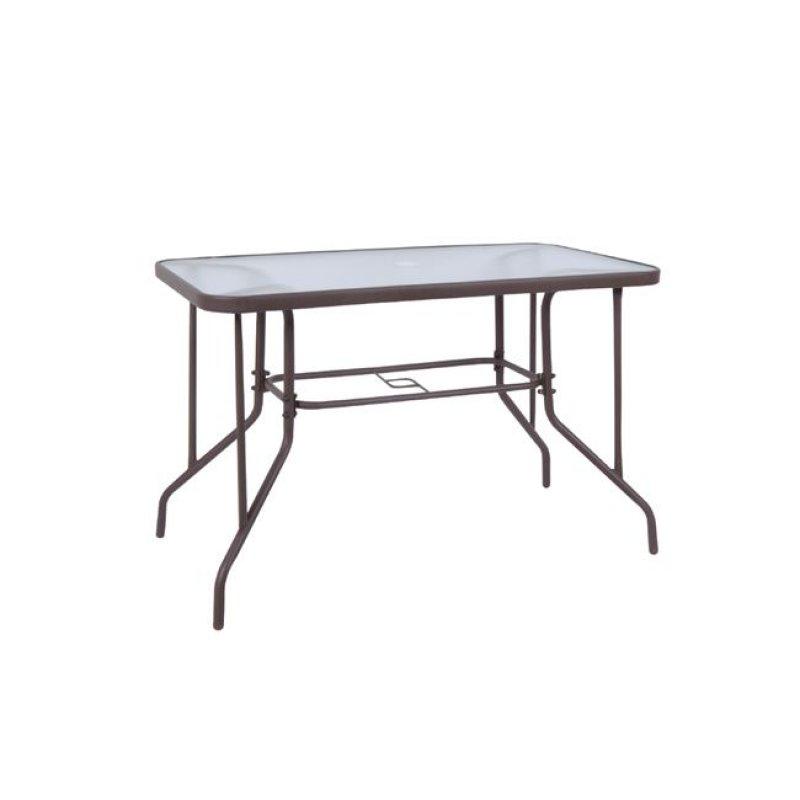 """Τραπέζι """"BALENO"""" μεταλλικό σε χρώμα καφέ με γυάλινη επιφάνεια 110x60x71"""