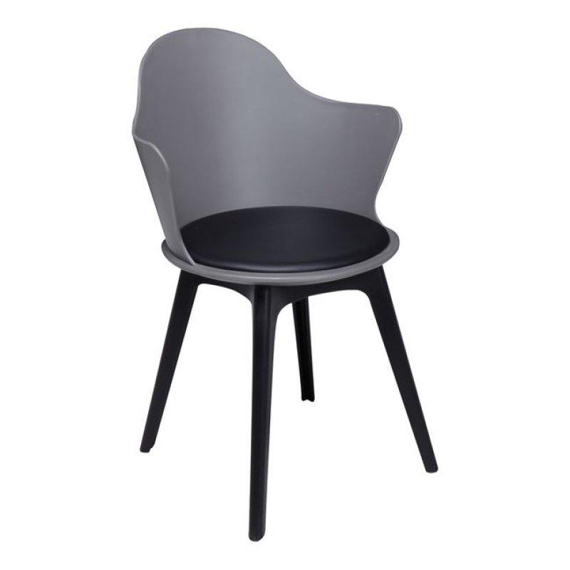 """Πολυθρόνα """"MAGNA Wood"""" ξύλινη-pp σε ανθρακί χρώμα 55x53x86"""