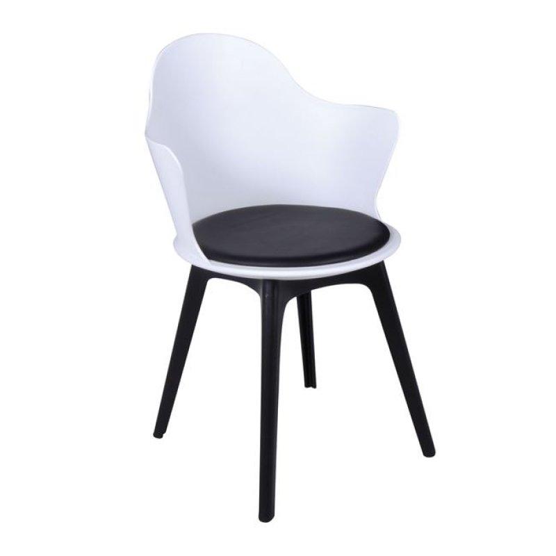 """Πολυθρόνα """"MAGNA Wood"""" ξύλινη-pp σε λευκό-μαύρο χρώμα 55x53x86"""