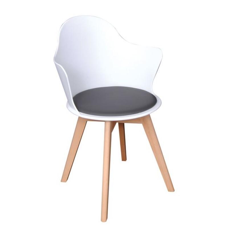 """Πολυθρόνα """"MAGNA Wood"""" ξύλινη-pp σε λευκό χρώμα 55x53x86"""
