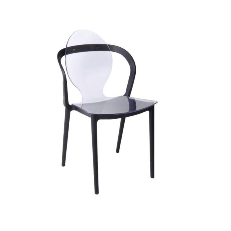 """Καρέκλα """"FOCUS"""" clear-pp σε μαύρο χρώμα 51x48x89"""