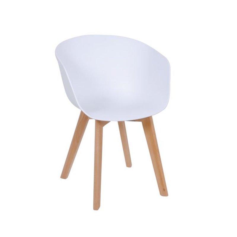 """Πολυθρόνα """"OPTIM"""" ξύλινη-pp χρώματος λευκό 55x56x80"""