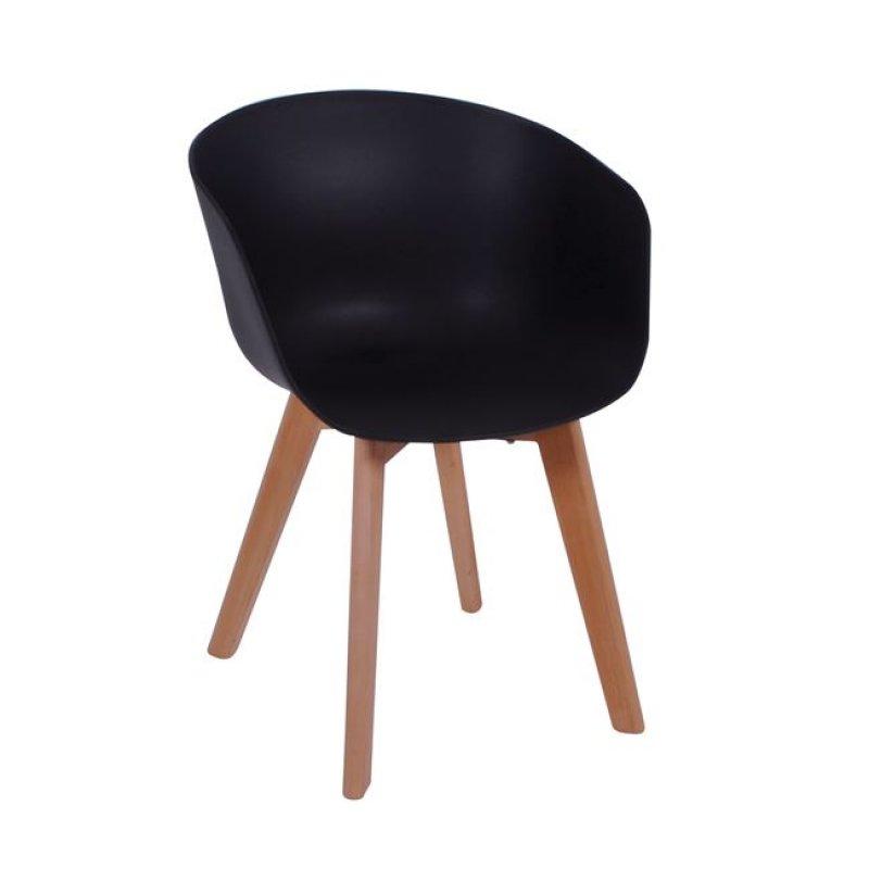 """Πολυθρόνα """"OPTIM"""" ξύλινη-pp χρώματος μαύρο 55x56x80"""