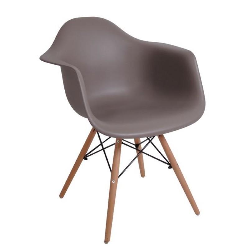 """Πολυθρόνα """"ART Wood"""" ξύλινη-pp χρώματος sand-beige 63x60x81"""