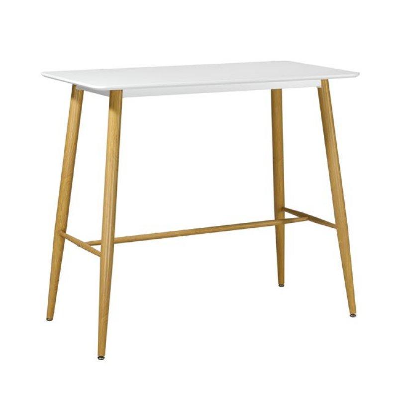 """Τραπέζι μπαρ """"LAVIDA"""" μεταλλικό φυσικό με επιφάνεια σε λευκό χρώμα 120x60x106"""