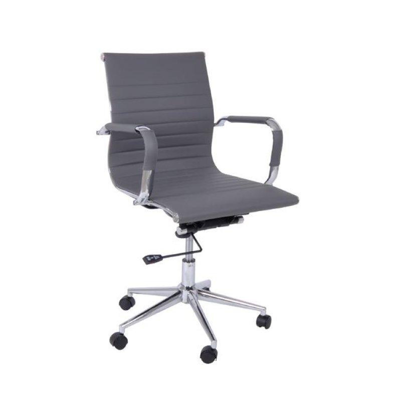Πολυθρόνα εργασίας χαμηλή πλάτη από τεχνόδερμα σε γκρι χρώμα 54x59x95/105