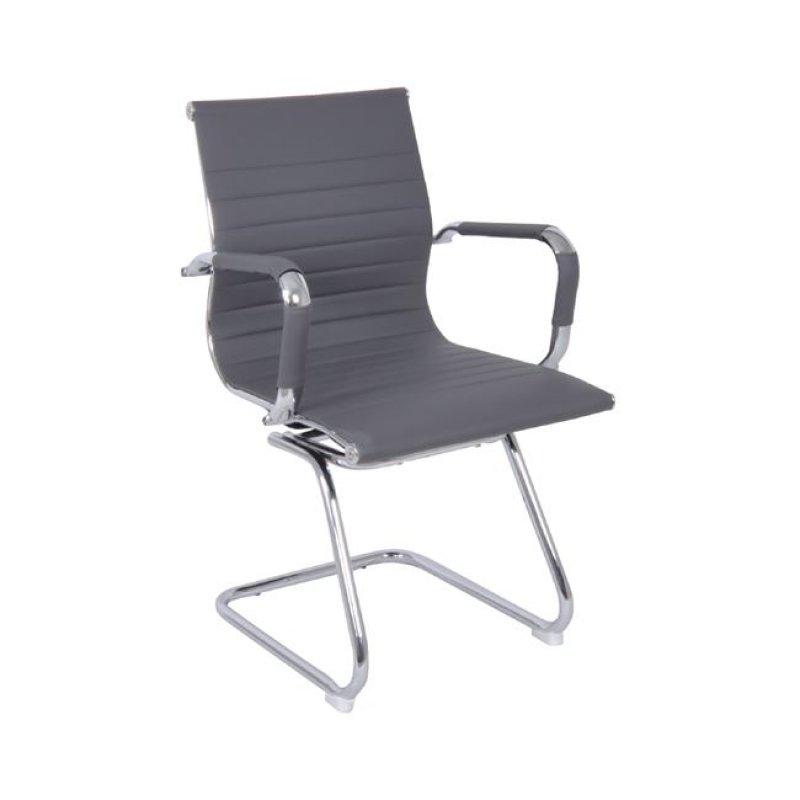 Πολυθρόνα επισκέπτη από τεχνόδερμα σε γκρι χρώμα 54x59x95