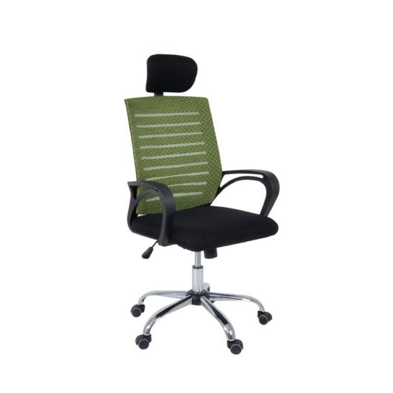 Πολυθρόνα διευθυντή από ύφασμα mesh σε πρασίνο-μαύρο χρώμα 65x61x111/119
