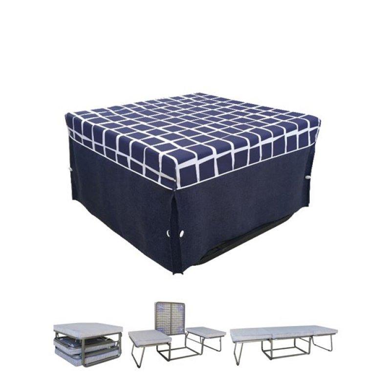 """Σκαμπώ-κρεβάτι """"LOGAN"""" από ύφασμα σε μπλε χρώμα 75x75x47"""