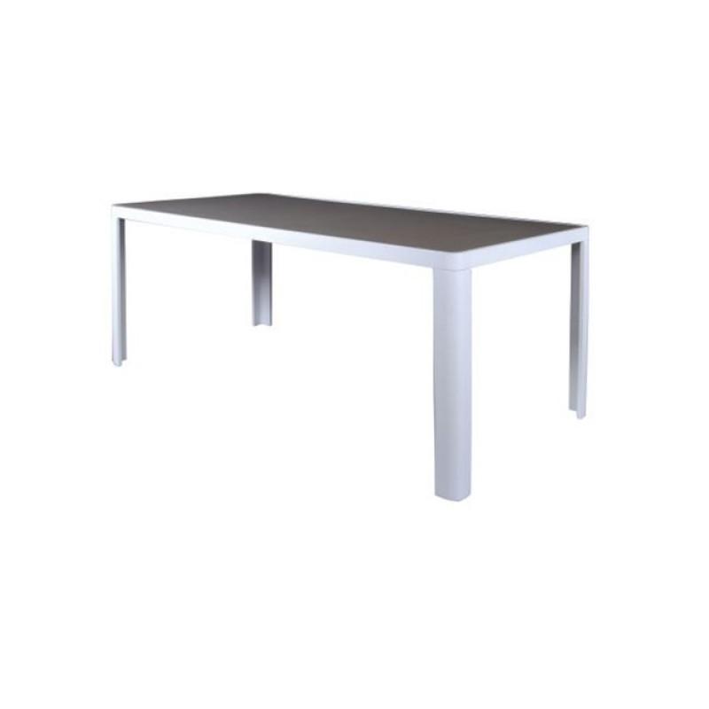 """Τραπέζι """"MANSON"""" αλουμινίου σε χρώμα λευκό με καφέ γυαλί 180x90x75"""