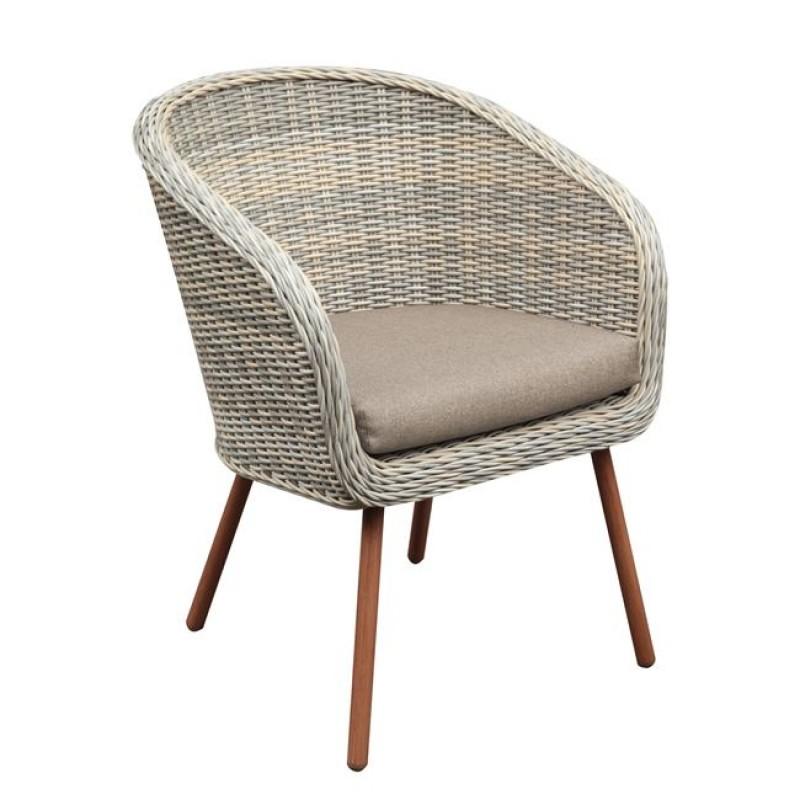 """Πολυθρόνα """"CORONA"""" από πλέξη wicker και ύφασμα σε μπεζ/καφέ χρώμα 61x63x83"""