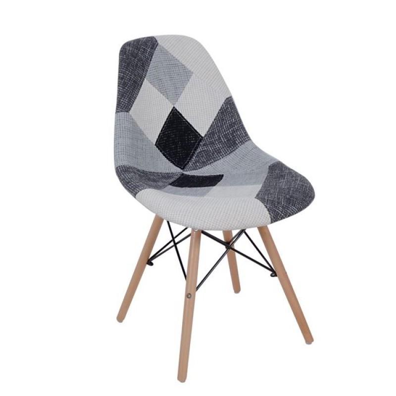 """Καρέκλα """"ART WOOD"""" ξύλιν με ύφασμα patchwork χρώματος λευκό-μαύρο 47x54x82"""