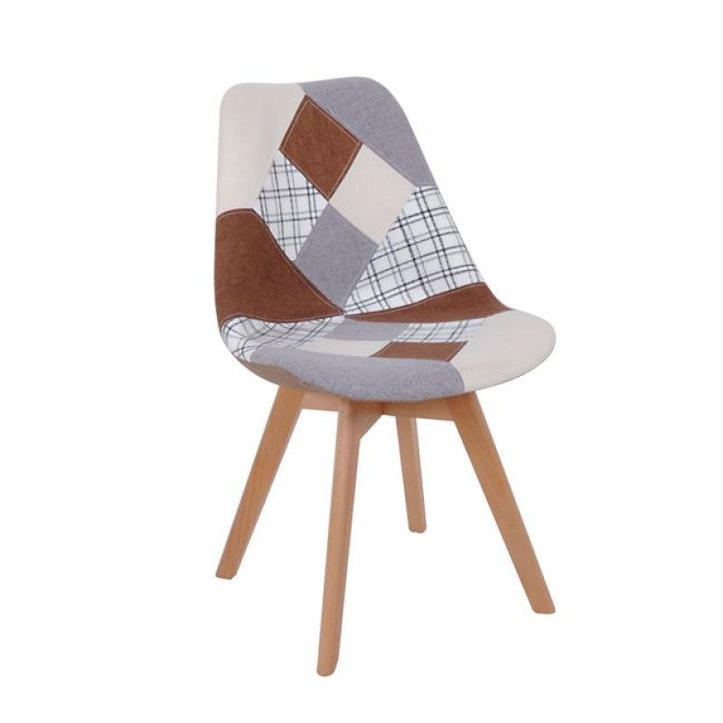 """Καρέκλα """"MARTIN"""" ξύλινη-υφασμάτινη σε patchwork καφέ χρώμα 52x49x82"""