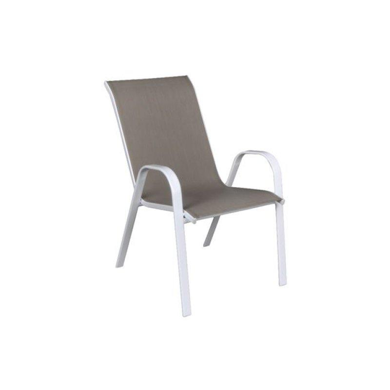 """Πολυθρόνα """"RIO"""" μεταλλική λευκή με textilene σε χρώμα cappuccino 56x73x93"""
