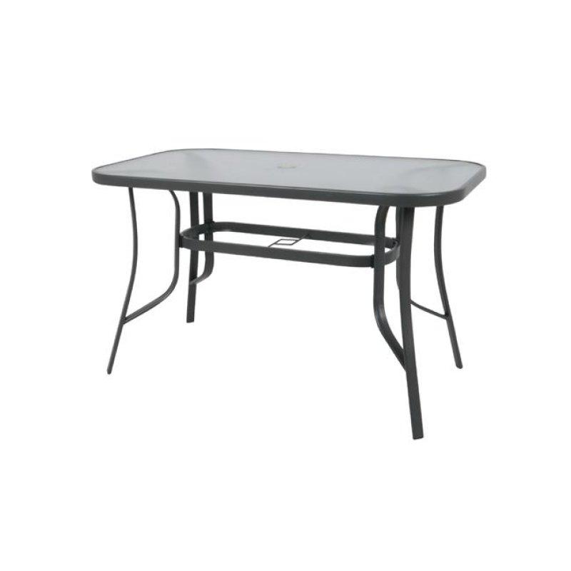 """Τραπέζι """"RIO"""" μεταλλικό σε χρώμα ανθρακί με γυάλινη επιφάνεια 140x80x71"""