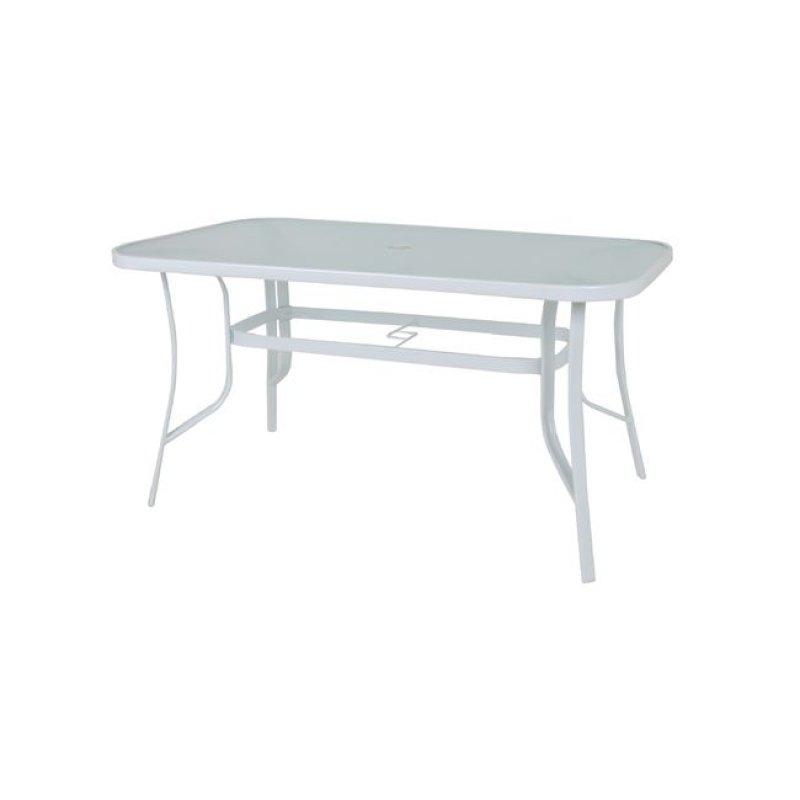 """Τραπέζι """"RIO"""" μεταλλικό σε χρώμα λευκό με γυάλινη επιφάνεια 140x80x71"""