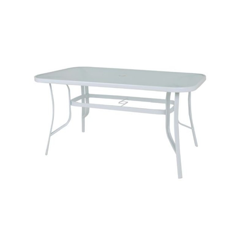 """Τραπέζι """"RIO"""" μεταλλικό σε χρώμα λευκό με γυάλινη επιφάνεια 120x70x71"""