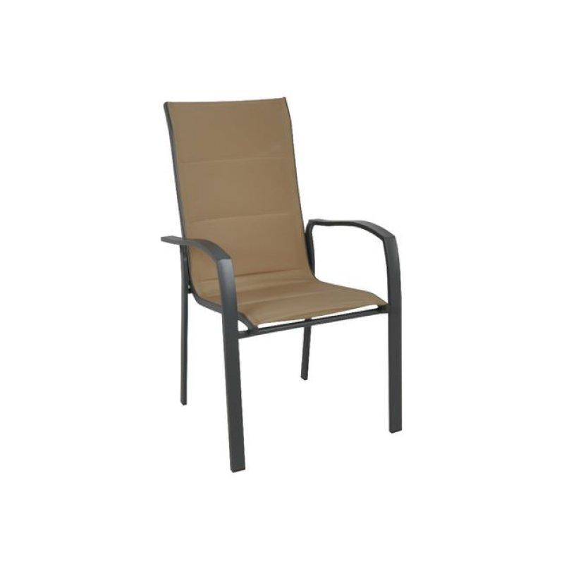 """Πολυθρόνα """"VERONA"""" μεταλλική ανθρακί από ύφασμα σε μπεζ χρώμα 56x70x96"""