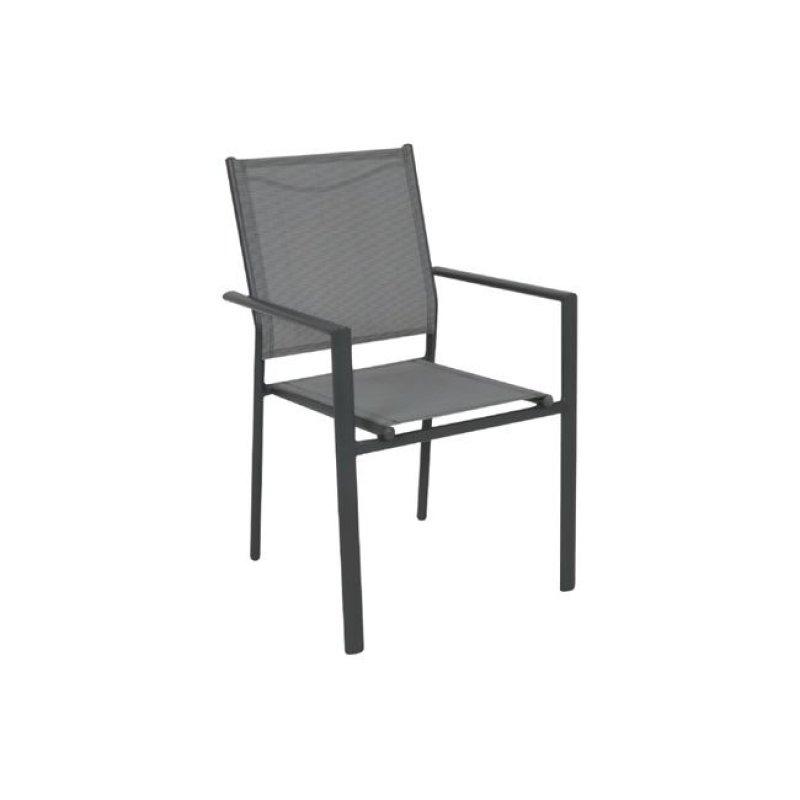 """Πολυθρόνα """"LANSON"""" μεταλλική ανθρακί με textilene σε γκρί χρώμα 55x55x86"""