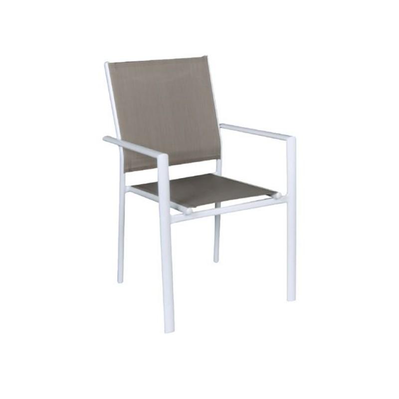 """Πολυθρόνα """"LANSON"""" μεταλλική λευκή με textilene σε cappuccino χρώμα 55x55x86"""
