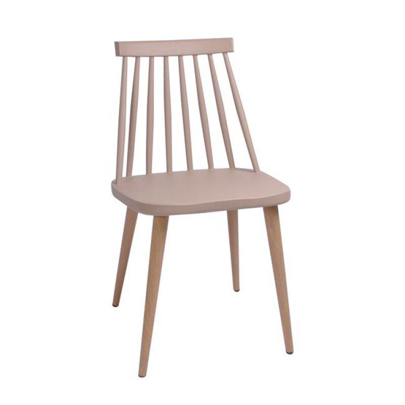 """Καρέκλα """"LAVIDA"""" μεταλλική-pp σε χρώμα tortora 43x48x77"""