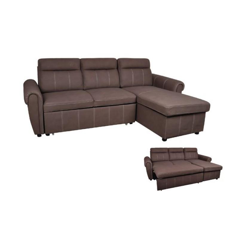 """Καναπές-κρεβάτι """"NOLAN"""" γωνία αναστρέψιμος από ύφασμα σε καφέ χρώμα 236x151x83"""