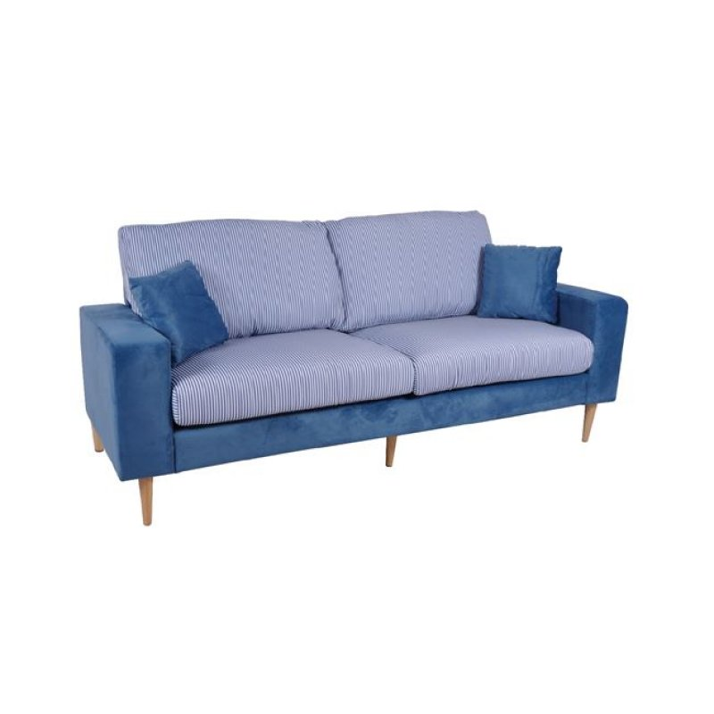 """Καναπές """"DOLCE"""" τριθέσιος υφασμάτινος σε μπλε χρώμα 205x76x89"""