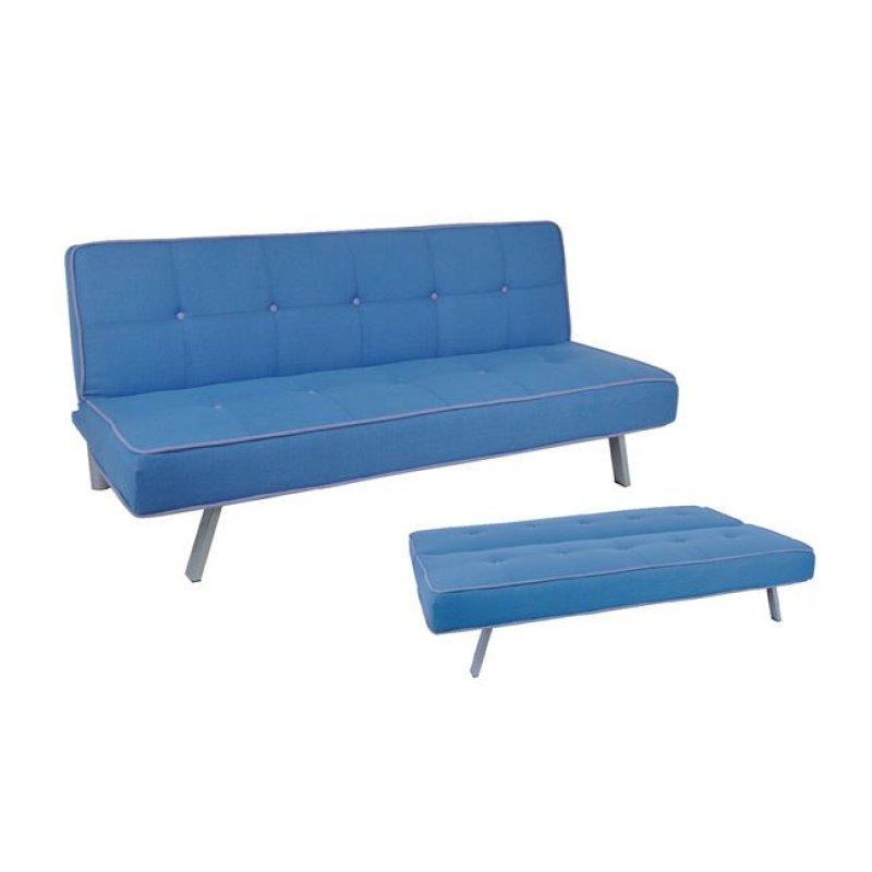 """Καναπές-κρεβάτι """"CORD"""" τριθέσιος από ύφασμα σε μπλε χρώμα 180x83x79"""