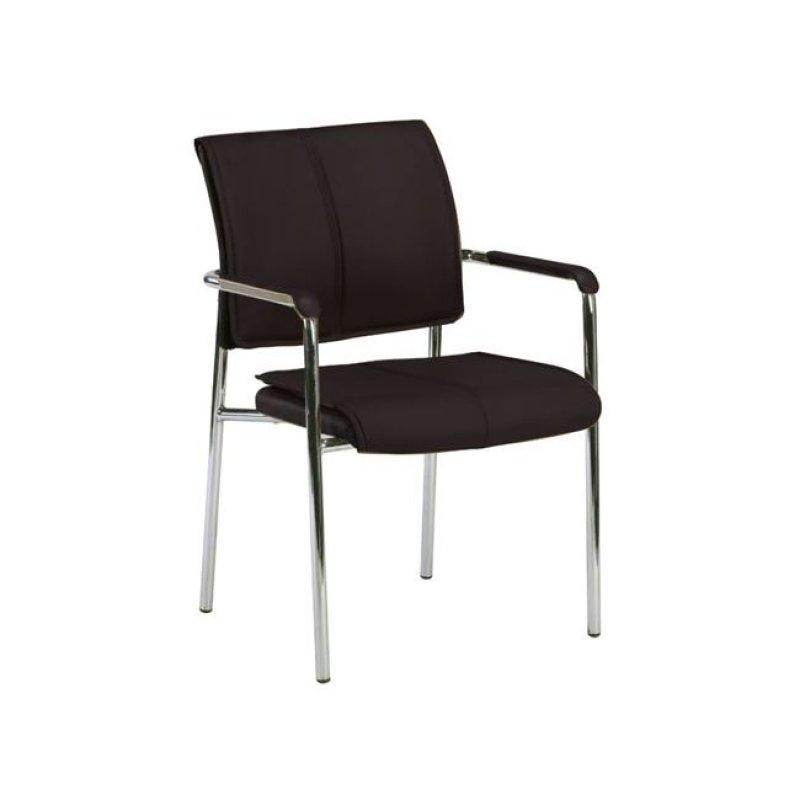 """Πολυθρόνα επισκέπτη """"ELDER"""" χρωμίου από τεχνόδερμα σε χρώμα μαύρο 50x45x81"""
