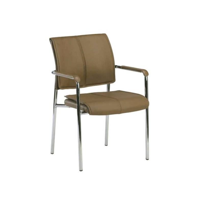 """Πολυθρόνα επισκέπτη """"ELDER"""" χρωμίου από τεχνόδερμα σε χρώμα cappuccino 50x45x81"""