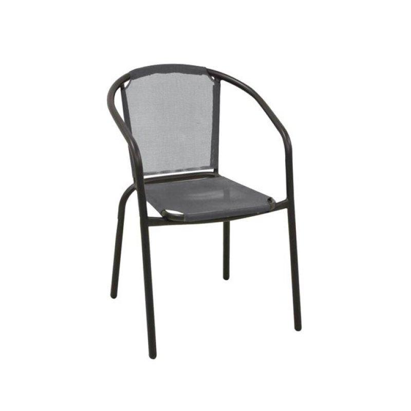 """Πολυθρόνα """"BALENO"""" μεταλλική μαύρη με textilene γκρι 53x58x77"""
